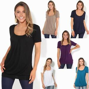 Womens-Ladies-Pleated-T-Shirt-Long-Blouse-Loose-Jersey-Top-Plain-Tunic-Plus-8-20
