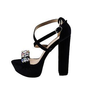 1daf5845549 Details about Qupid Beat 100 Black Women's Strappy Gem Embellished Open Toe  Heel