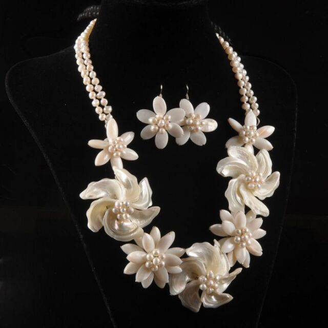s9969 Mother of pearl MOP Shell pearl flower pendant earrings necklace set 20""