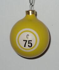 BINGO O75 Yellow Christmas Ornament Glass Ball Rare Early 1990's