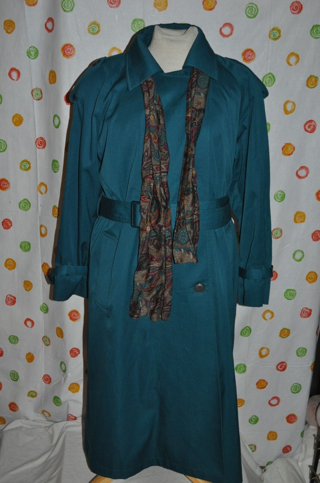 JOHN WEITZ GREEN button LINER  belted ALL WEATHER COAT & scarf WOMEN 8 P EUC