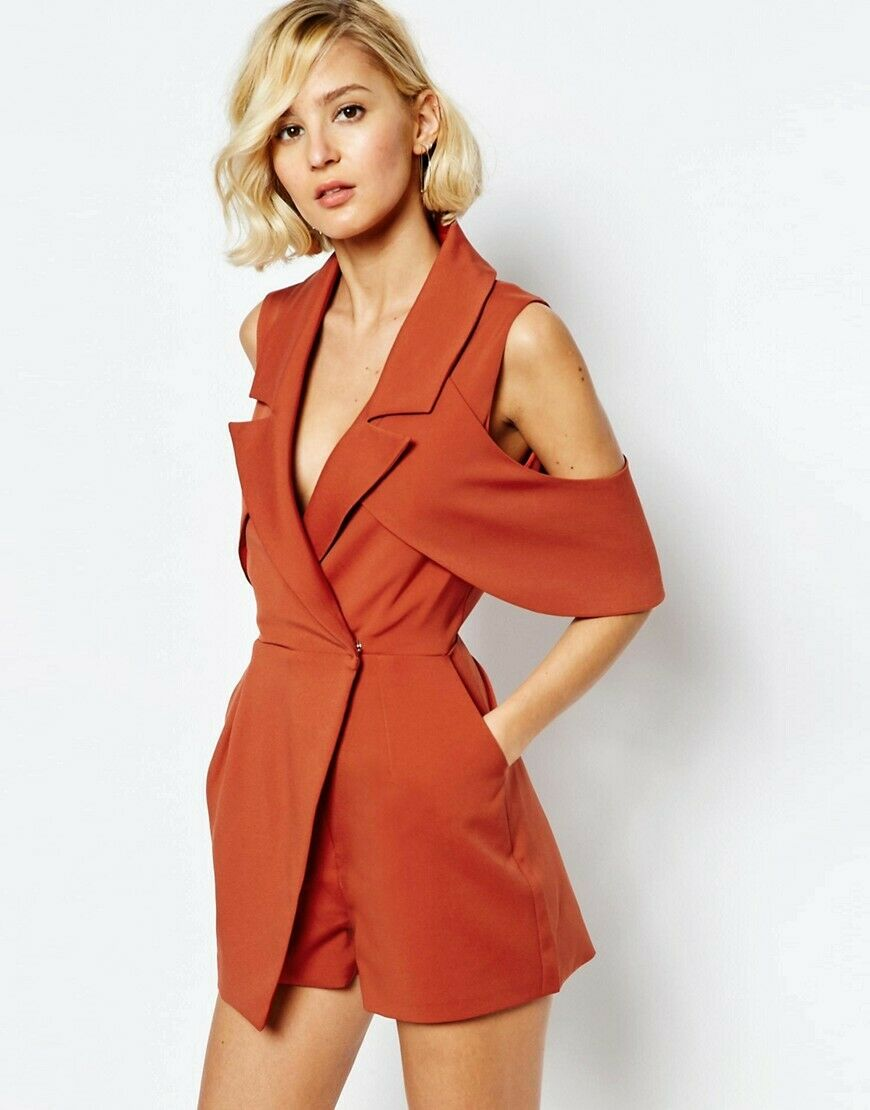 NEW LAVISH ALICE TERRACOTTA TAILORED COLD SHOULDER PLAYSUIT PARTY LOOK