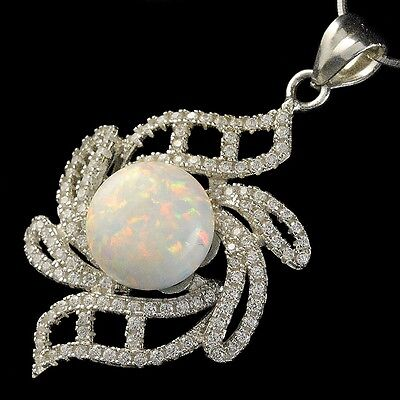 Alducchi White Rainbow lab Fire Opal -CZ 925 Silver Pendant snake chain Necklace