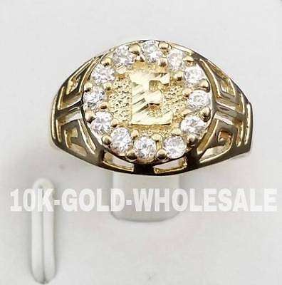 NEW 10K YELLOW GOLD INITIAL RING MENS /& LADIES 10KT RING I-29