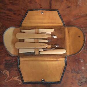 Antique-Vanity-Celluloid-7-Piece-Manicure-Set