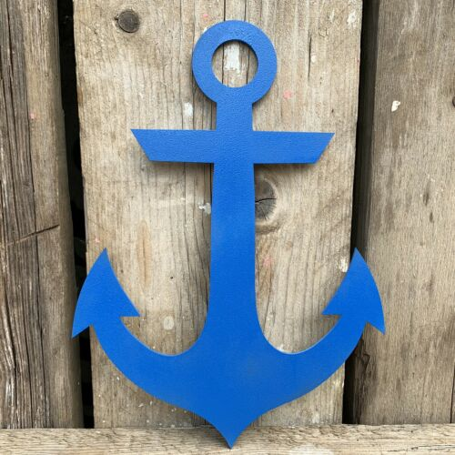 Rustic BLUE Anchor Ship Boat Nautical Sign Decoration Garden Feature Ornament