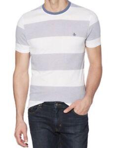 Penguin-Mens-T-Shirt-Medium-Vintage-Indigo-Striped-MSRP-49