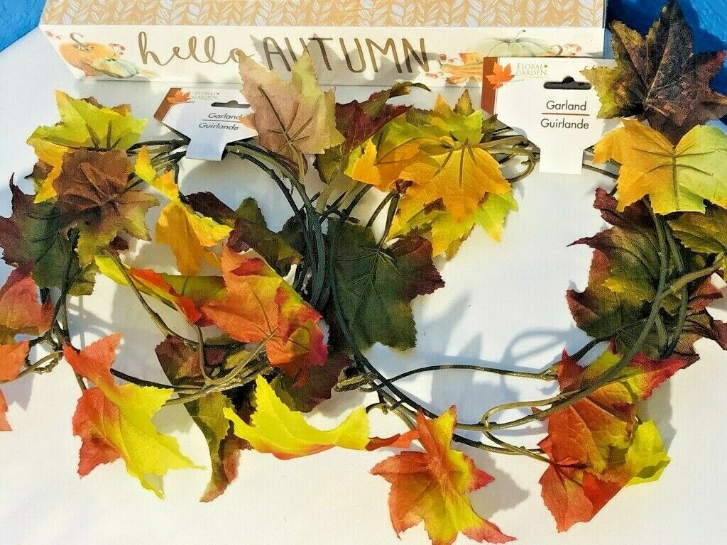 Fall Leaves Garland Autumn Leaves Leaf Thanksgiving Home Decor 10 Ft Free Ship For Sale Online
