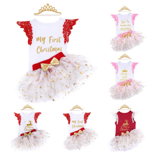 Baby Girl First Christmas Romper Tutu Skirt Birthday Xmas Dress Headband Outfits
