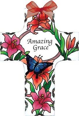 Joan Baker hand painted art glass beautiful Cross Bible inspirational gift New