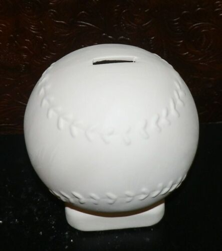 BASEBALL Softball Piggy Bank Includes  Stopper*Ceramic Bisque Ready to Paint