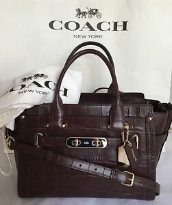 Coach 37493 Croc Embossed Leather Swagger 27 Satchel