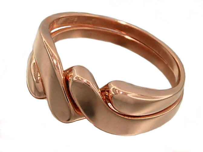 R008 - Genuine 9ct Solid pink gold PUZZLE Wedding Ring size Q resizable