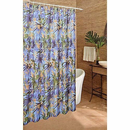 Caribbean Joe Bali Tropical Floral Flower Palm Trees Fabric Shower Curtain 70x72