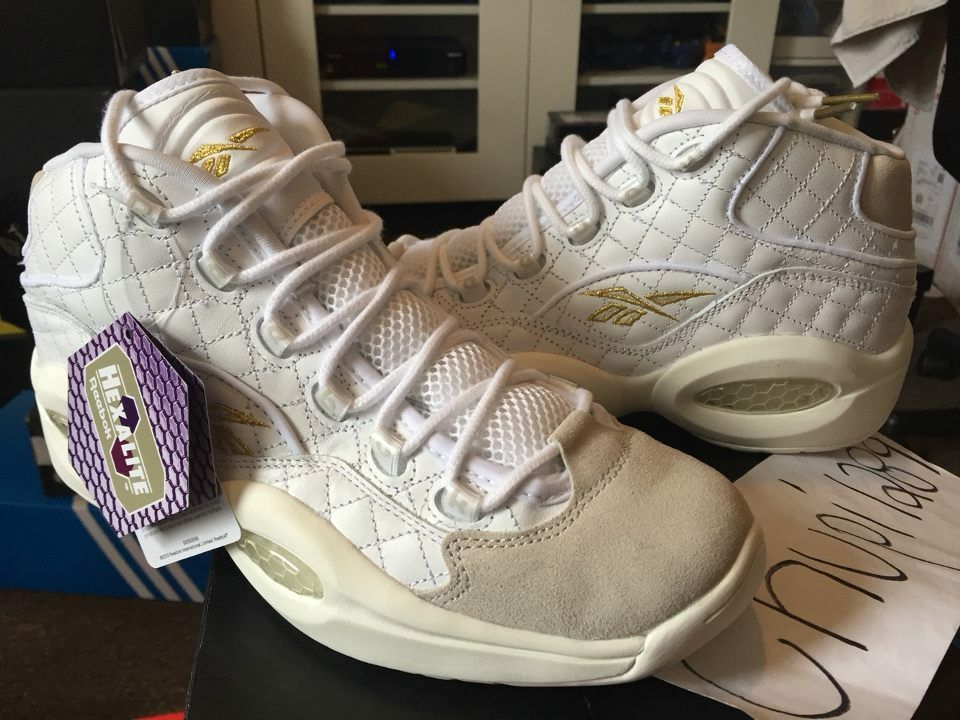 Reebok Question Mid Quilted White Party Iverson Birthday Chalk Gold Beige AR1710