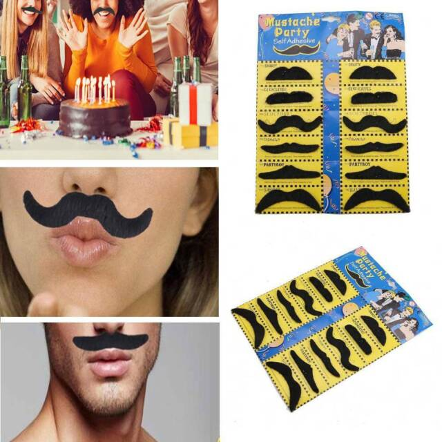 12Pcs//Pack Party Halloween Fake Mustache Funny Cosplay Photo Props Costume Beard