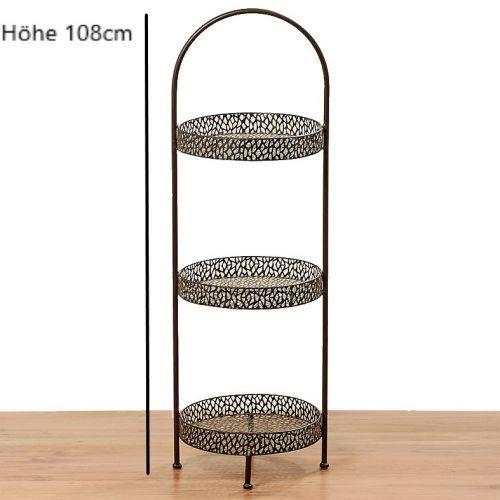 Metall Deko Etagere 3er braun - H H H 108cm, 3 stufige Etagere Landhaus       Mode-Muster  9cd833
