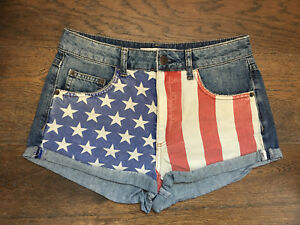 Topshop-Hotpant-American-Flag-Boho-Denim-Shorts-Holiday-Beach-Summer-W28-Size-10