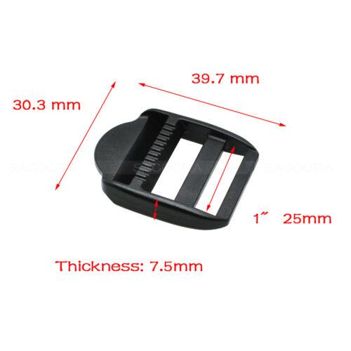 Ladder Lock Slider Plastic Black Buckles Backpack Straps Webbing 15mm-50mm