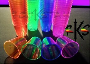 200pc- 2oz Neon Plastic Shot Glass Cups- Semi Reuseable, Blacklight UV Reactive