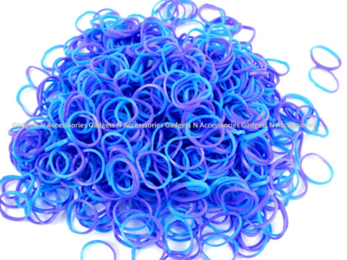 600 TIE DYE LOOM BANDS Striped Refill Rubber Rainbow Bracelet Making S Clips