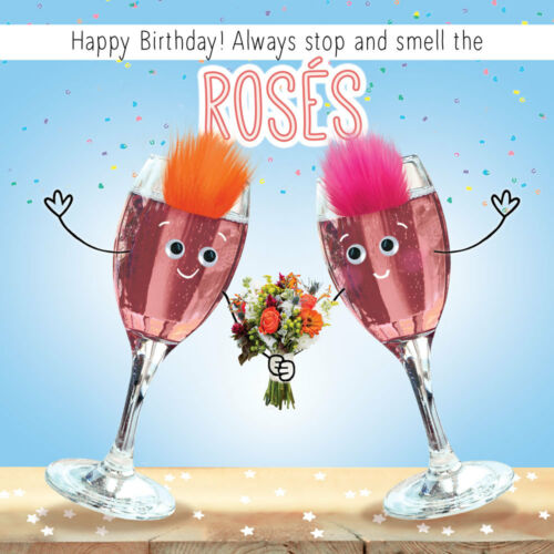 """GOGGLIES REAL FLUFF 3D EYES  /""""STOP /& SMELL THE ROSES/"""" BIRTHDAY CARD 1STPP"""
