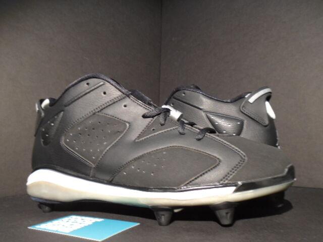 2007 Nike Air Jordan VI 6 Retro D BASEBALL FOOTBALL CLEATS BLACK WHITE GREY 11.5