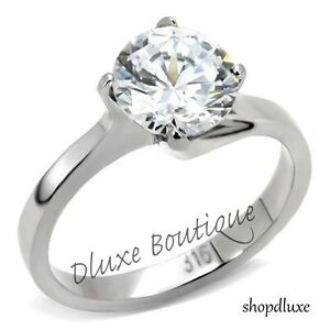 2-75-Ct-Round-Cut-AAA-CZ-Stainless-Steel-Engagement-Ring-Band-Women-039-s-Size-5-10