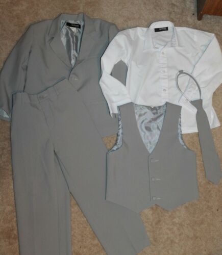 GINO GIOVANNI Boys/' Sz 7 5-PIECE SUIT gray//white; jacket//vest//shirt//pants//tie