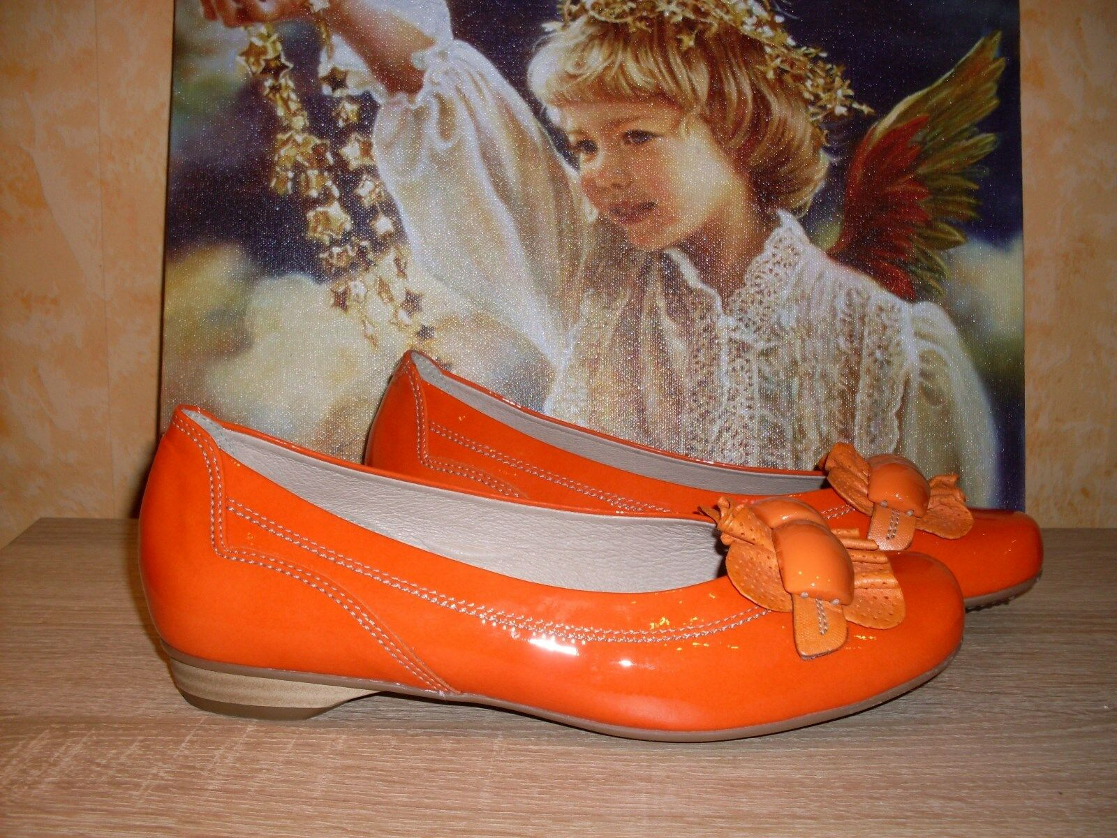 Bequeme Softwaves Ballerina Pumps NEU Gr. Gr. Gr. 44 in koralle (orange) Lack & Leder e54e99