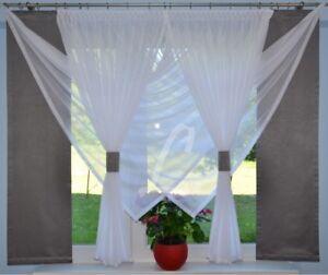 Details zu Moderne Gardinen Komplett Dekoration Wohnzimmer Weiß Grau  Fenster 120-180 Nr 612