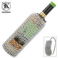 Chainmail Wine Bottle Koozie Medieval Knights Holder Biker Bar Pouch Carrier Hd