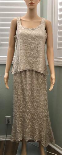 DRESSBARN Crochet Lace Skirt Set Sleeveless Gold M