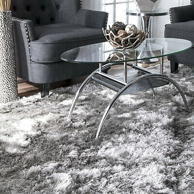 Modern Rug Grey Living Room Plush Rugs Shaggy Soft Carpet Flokati Handmade Mats Ebay