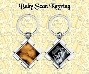 PERSONALISED BABY SCAN KEYRING YOUR PHOTO ADDED