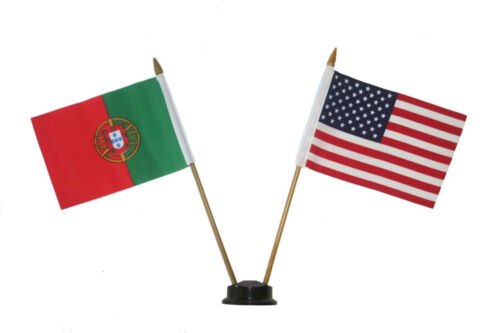 """USA /& PORTUGAL  4/"""" X  6/"""" DOUBLE STICK FL.WITH BLACK STAND ON 10/"""" PLASTIC POLE"""