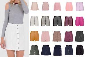 Vita-alta-tasca-bottone-sul-davanti-in-basso-lato-anteriore-con-zip-pulsante-Minigonna-Con-Lacci
