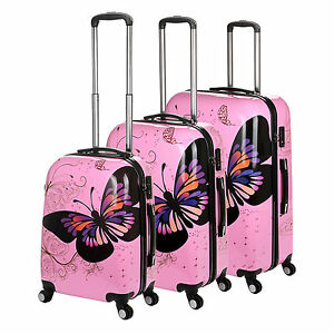 4 Wheel Spinner Suitcase Light PINK PC Butterfly Luggage Trolley ...