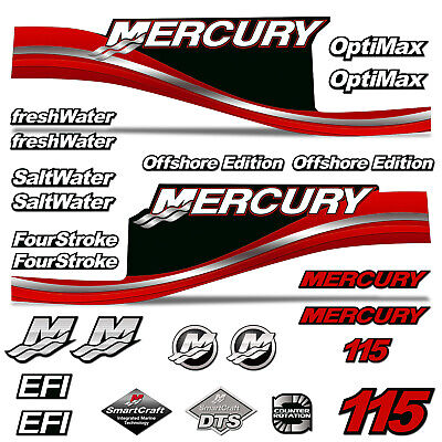 Mercury 25 Four 4 Stroke Decal Kit Outboard Engine Graphic Motor Stickers RED