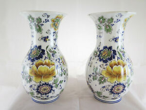 Schöne Paar Vasen IN Keramik Bemalt Blumen Fg Keramik Kunstperle R36