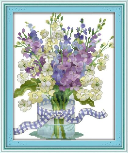 Florero de hermosas orquídeas Cross Stitch Kit 14 ct tamaño 27 X 32 cm BNIP Joy Domingo