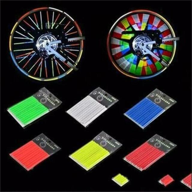 12pcs Reflector BIKE Wheel Rim Spoke Mount Bike Warning Light Strip Tube Cool wu