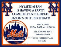 York Mets Baseball Invitations Birthday Bachelor Party Any Age Or Team