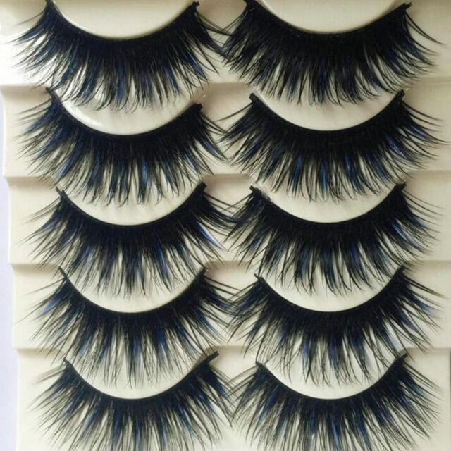 5 Pairs New Blue+Black Long Thick Cross False Eyelashes Handmade Eye Lashes Hot