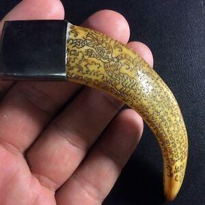 Real Pig Tooth LP Sawai Thai Carved Amulet Pendant Holy Yantra Talisman Power