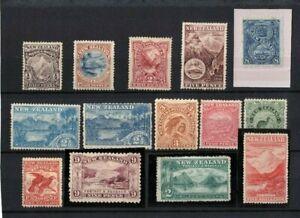1898-New-Zealand-Queen-Victoria-Pictorials-Set-14-nice-MLH
