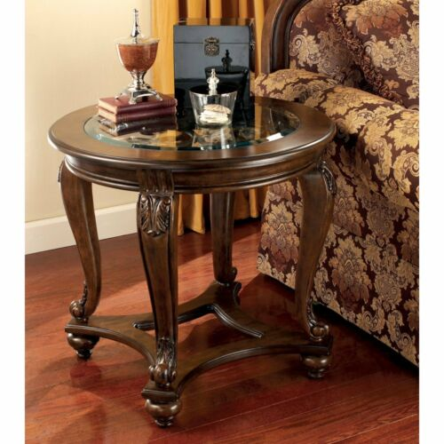 Signature Design By Ashley Norcastle Dark Brown Round End Table | EBay