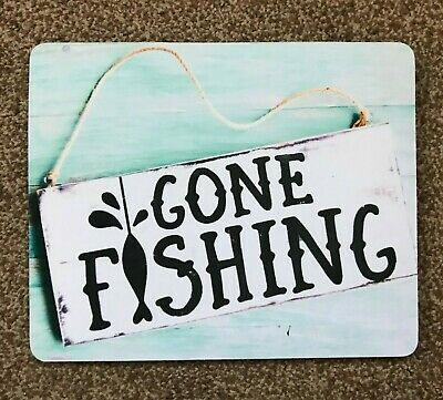 Gone Fishing Tappetino Mouse Desktop Laptop Mouse Pad Qualità 5 Mm Di Spessore Made In Uk #2-