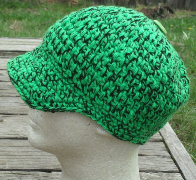 Bright Green/Black Larger Crocheted Beanie with a Visor - Handmade by Michaela