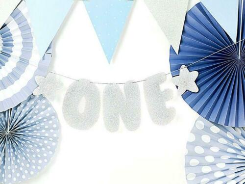 Silver Glitter One Bunting One Garland PAR9772 1st Birthday Party Decorations